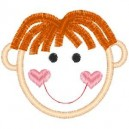 Outline Little Boy Red Hair Center Part Embroidery Design
