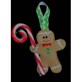In the Hoop Gingerbread Man Candy Cane Holder