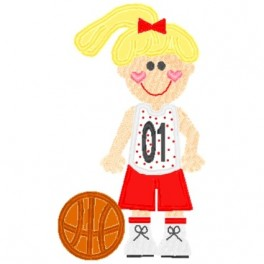 Mega Hoop Basketball Girl Applique Design