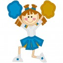 NNKids Applique Blue and Gold Cheerleader