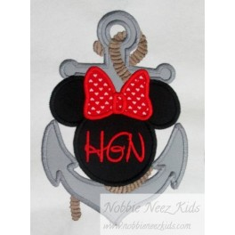 Mouse Head Anchor Girl Monogram
