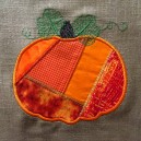 Appliqued Autumn Pumpkin Crazy Quilt Square
