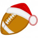 Football with Santa Hat