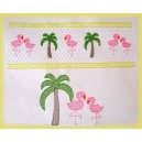 Faux Smocking Flamingo and Palms