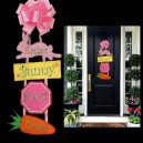 In Hoop Easter Bunny Stop Here Door Hanger