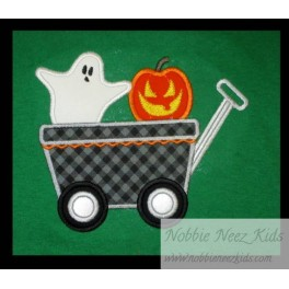 Applique Ghost Wagon with Pumpkin