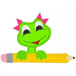 School Frog Pencil Girl Mega Hoop Design