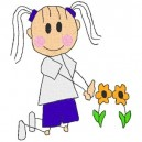 black-outline-girl-flowers