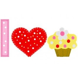M2M Gymbo Applique Love Cupcakes