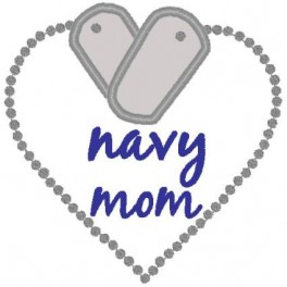 Applique Heart Tag Navy Mom Mega Hoop Design