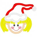 Outline Little Blonde Girl in Santa Hat