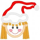 Outline Little Girl Long Hair Santa Hat