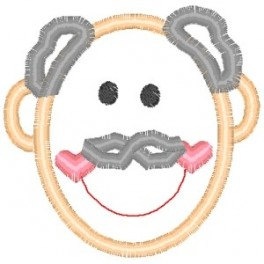 Outline Grandpa Head Embroidery Design