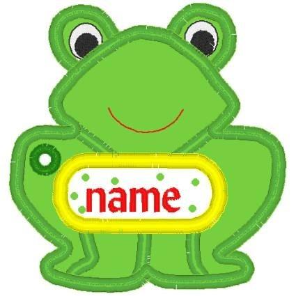 In Hoop Applique Frog Tag Nobbieneezkids